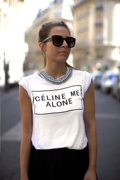 style fashion women graphic tee necklace glasses celine me alone