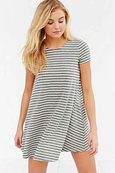 BDG Short-Sleeve Striped Swing Tee Dress - Urban Outfitters