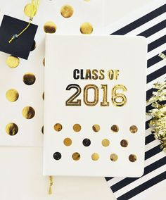 Graduation Gift Journal Notebooks with Class of 2016 on the front written in metallic gold are a unique gift for her graduation! by Mod Party
