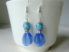 Cornflower Blue Dangle Earrings Glass Beads Earrings by CharlotteJewelryBox, $15.00