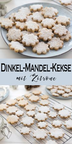 Dinkel-Mandel-Kekse mit Zitrone Not only at Christmas, but then especially I recommend this simple cookie recipe for spelled and almond biscuits with lemon. Healthy Christmas Cookies, Christmas Desserts, Fall Desserts, Christmas Recipes, Easy Biscuit Recipe, Easy Cookie Recipes, Chip Cookie Recipe, Chip Cookies, Spelt Biscuits