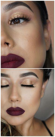 shimmery gold lip & deep matte berry lip | makeup @glamtrashmakeup | 2nd photo: https://www.instagram.com/p/BZMUvdpl_LZ/?taken-by=glamtrashmakeup
