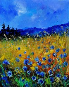 Pretty blue wildflowers in field painting idea.