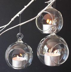 Best type on Ebay - 3 x Hanging Glass Bauble Tealight / Candle Holders