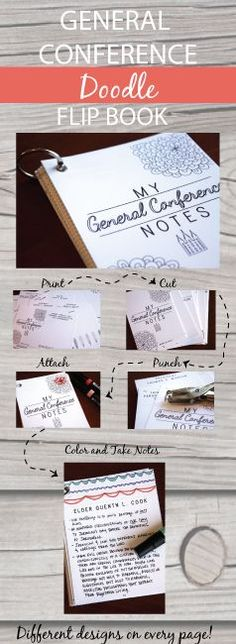 Fun way to take notes for General Conference!  There is a page for every Apostle with doodles and pictures you can color as you listen and t...