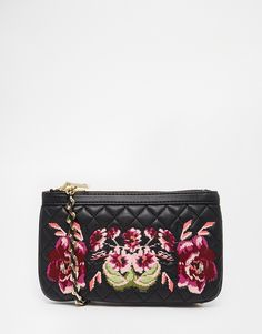 Love Moschino Quilted Clutch Bag With Floral Embroidery