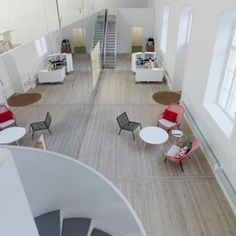 top view of Modern and Creative Office Interior in Classic Building