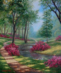 A grand garden scene of cascading sunlight and welcoming winding dirt path guiding the viewer around trees and blossoming vivid pink bushes. Beautiful Paintings, Beautiful Landscapes, Beautiful Gardens, Beautiful Flowers, Landscape Art, Landscape Paintings, Beautiful Places, Beautiful Pictures, Garden Painting