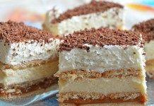 Nepečené smetanové řezy se sušenkami, karamelem a vanilkovým krémem