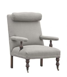 Brussels Arm Chair  with Leather Strapped Headrest  Bordeaux Belgian Linen Fabric
