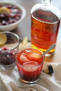 Cranberry Sauce Bourbon Cocktail | a great way of using your leftover cranberry sauce!