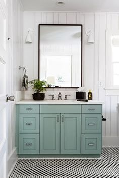 painted bathroom vanity, penny tile floor