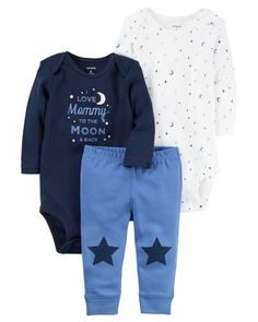 0fd570a2dda32 Baby Boy Clothes Carter's Baby Boys' 3 Piece Take Me Away Set (Baby) -  Moon/Stars, 12 Months