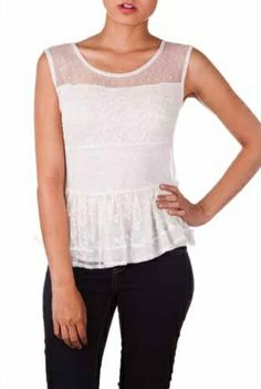Sleeveless Lace Top W/ Peplum Spring 2014, Peplum, March, Tops, Women, Fashion, Moda, Fashion Styles, Fashion Illustrations