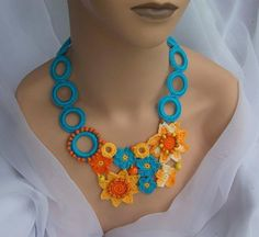 crochet, turquoise, orange wooden necklace