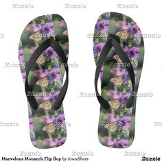 Shop Marvelous Monarch Flip flop created by IowaShots. Flip Flop Art, Flip Flops, Summer Fun, Slip On, Sandals, Pattern, Shoes, Design, Style
