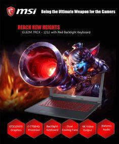MSI GL62M 7REX - 1252 Gaming Laptop 15.6 inch Windows 10 Home Chinese Version Intel Core i7-7700HQ Quad Core 2.8GHz 8GB RAM 1TB HDD HDMI Type-C