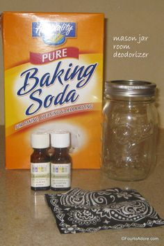 Fill a mason jar halfway with baking soda, then add a few drops of whatever essential oils you prefer.  I used lavender and rosemary for this one.  Peppermint and lavender is also really nice.  Use a butter knife to mix the oils into the baking soda.  Cover the jar with a scrap of fabric and seal with the rim of the jar.