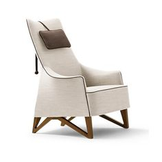 Giorgetti Mobius Bergere with Headrest - Style # 63940, Modern Armchair - Contemporary Armchair - Leather Armchair - Swivel Armchair   SwitchModern.com