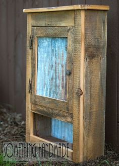 Industrial rustic barn wood cabinet with corrugated steel made from barn wood Barn wood cabinet with corrugated steel in the door and back of the open shelf. The inside back will have hardboard… Barn Wood Decor, Barn Wood Projects, Diy Projects, Vintage Industrial Furniture, Rustic Industrial, Rustic Barn, Rustic Modern, Diy Pallet Furniture, Rustic Furniture