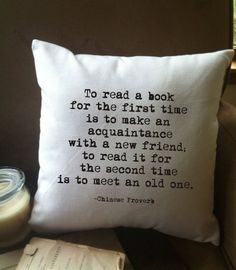 book lover's pillow / decorative throw pillow cover// book lover's gift/ book nook pillow/ library pillow/ by MinnieandMaude on Etsy I Love Books, Books To Read, My Books, Quotes For Book Lovers, Book Quotes, Pillow Quotes, Book Memes, Book Nooks, Reading Nooks