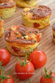 Les recettes de Nathou: Mini-quiches au poulet, cheddar, tomates cerise et ciboulette