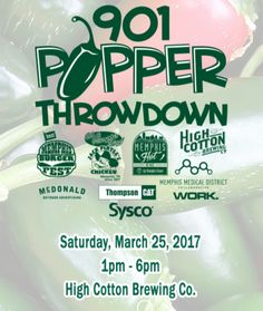 Free, family-friendly event will feature jalapeño popper cook-offs, a jalapeño eating competition, live music, and High Cotton brews! #901popperthrowdown #101thingstodoinmemphis #memphisfestivals