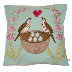 love nest - embroidered cushion - poppy treffry