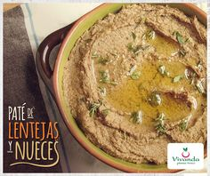 Paté de Lentejas y Nueces | Vivanda Raw Food Recipes, Veggie Recipes, Vegetarian Recipes, Cooking Recipes, Snack Recipes, Healthy Recipes, Finger Food Appetizers, Finger Foods, Seitan
