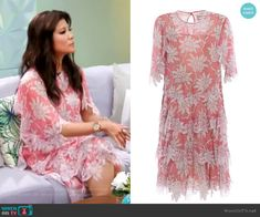 floral print tiered dress by Valentino worn by Julie Chen on Big Brother Big Brother Style, Julie Chen, Tiered Dress, Valentino, Cover Up, Floral Prints, Short Sleeve Dresses, Fashion Outfits, Pink