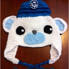 Crochet Captain Barnacles hat. Original design by Moogjigoo. Octonauts! To your stations! ~ PATTERN FOR SALE. Link correct when I checked on 04/03/2015