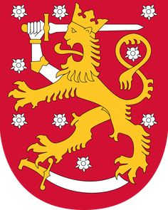 Coat of arms of Finland. The coat of arms of Finland is a crowned lion on a red field, the right foreleg replaced with an armoured hand brandishing a sword, trampling on a sabre with the hindpaws. The coat of arms was originally created around the year Lappland, Robert Baden Powell, Barbados Wedding, National Animal, Banner, Sweden Travel, Family Crest, Naha, Crests