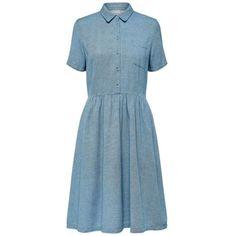 Medium Blue Denim Taylor Dress (5.295 RUB) ❤ liked on Polyvore featuring dresses, light weight dresses, lightweight denim dress, short-sleeve dresses, short sleeve denim dress and denim shirt dress