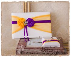 Cadbury Purple and Yellow Wedding Guest Book by BridalQueen Cadbury Purple Wedding, Yellow Wedding, Pen Holders, Wedding Guest Book, Unique Jewelry, Handmade Gifts, Vintage, Etsy, Kid Craft Gifts