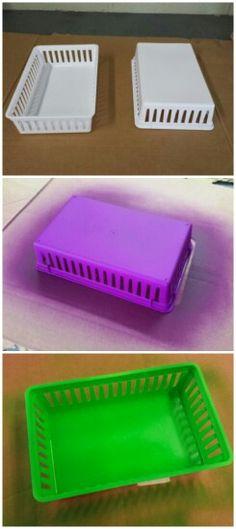 Plasti dipped storage trays.