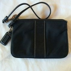 Coach wristlet- black, all-weather In great shape and great as a wallet when carrying a big bag Coach Bags Clutches & Wristlets