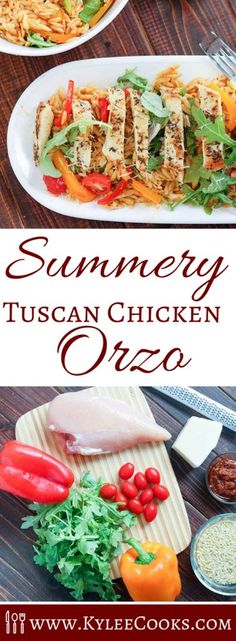 A fresh, summery dish - perfect for a delicious lunch or light dinner, this Tuscan Chicken Orzo is full of fresh flavors, easy to make on the fly, and even easier to make ahead. The orzo is perfect in this, little rice-like pasta pieces, covered in a sun
