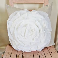 18x18 Ruffly Flower Pillow Cover by MySwallowsNest on Etsy, $28.00 #easter #mothersday