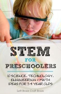 Might be easier to beef some of these up for kindergarten then try to make other activities appropriate. STEM for Preschoolers 10 Science Technology Engineering Math Ideas for 3 to 4 Year Olds Left Brain Craft Brain Pin Stem Science, Preschool Science, Teaching Science, Science For Kids, Science Experiments, Science Ideas, Science Crafts, Steam For Preschool, 3 Year Old Preschool