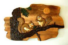 Intarsia Squirrels Wood Wall Art