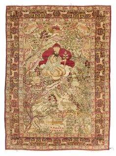 KIRMAN LAVER PICTORIAL CARPET antique.Light central field with a central medallion depicting a king, finely patterned with plants and animals in delicate pastel colours, red edging, in good condition, 140x215 cm.