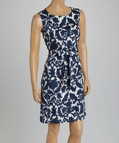 Look at this Nina Leonard Navy & White Ikat Sheath Dress on #zulily today!