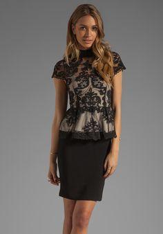 ALICE + OLIVIA Robyn Lace Bodice Peplum Dress in Black