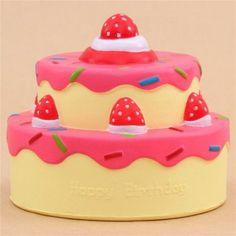 Vlampo squishy torta di compleanno glassa fucsia kawaii