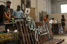 DJ Booth and Pallet Bar - very clever, nice use of text ontop