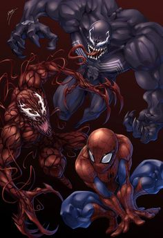 Spider-man, Venom, Carnage  An average person looks at comic books as a kids story book with neat pictures. And adult geek looks at them as priceless works of art with a story more involved than Charlie Sheen's sex life. And that's sayin something!