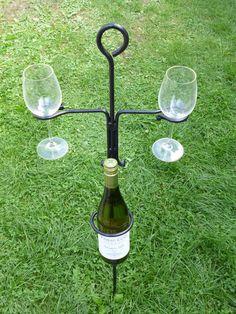 Garden Wine Glass Amp Bottle Holder With Lantern