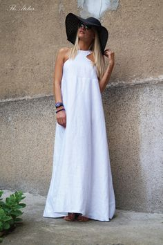 Convertible White Kaftan/Asymmetrical Tunic/Maxi Dress/White Linen Casual Kaftan/Fashion Dress/Top/Sleeveless White Dress/Handmade : Convertible White Kaftan/Asymmetrical Tunic/Maxi by FloAtelier White Sleeveless Dress, White Maxi Dresses, White Dress, Summer Dresses, White Kaftan, Overall, Beautiful Dresses, Fashion Dresses, My Style