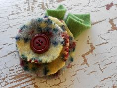 Felted wool flower accessory air clip lapel brooch pin repurposed wool sweater