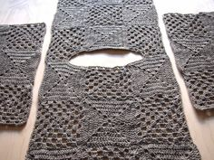 "VMSomⒶ KOPPA: Vaaleanharmaa villaruutupaita ""Back piece, 9 square meters. second sleeve, 9 square meters. Crochet Jumper, Crochet Cardigan Pattern, Crochet Blouse, Crochet Shawl, Crochet Lace, Crochet Hooks, Crochet Patterns, Crochet Crafts, Easy Crochet"